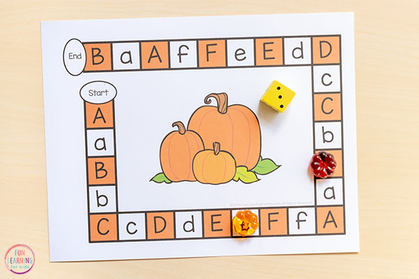 Alphabet editable board game for learning letters and letter sounds this fall.