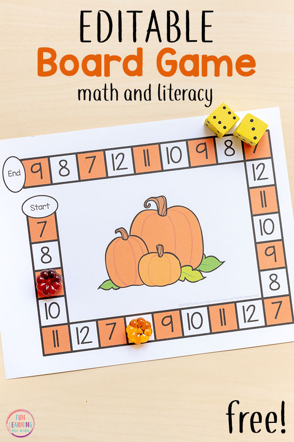 A fun pumpkin editable board game that is perfect for fall math centers. Work on numbers, counting, addition, number sense and more!