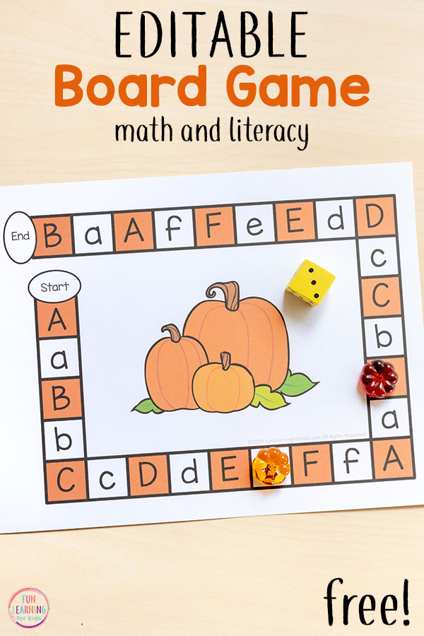 Teach letters and letter sounds with this fun pumpkin board game that's editable!