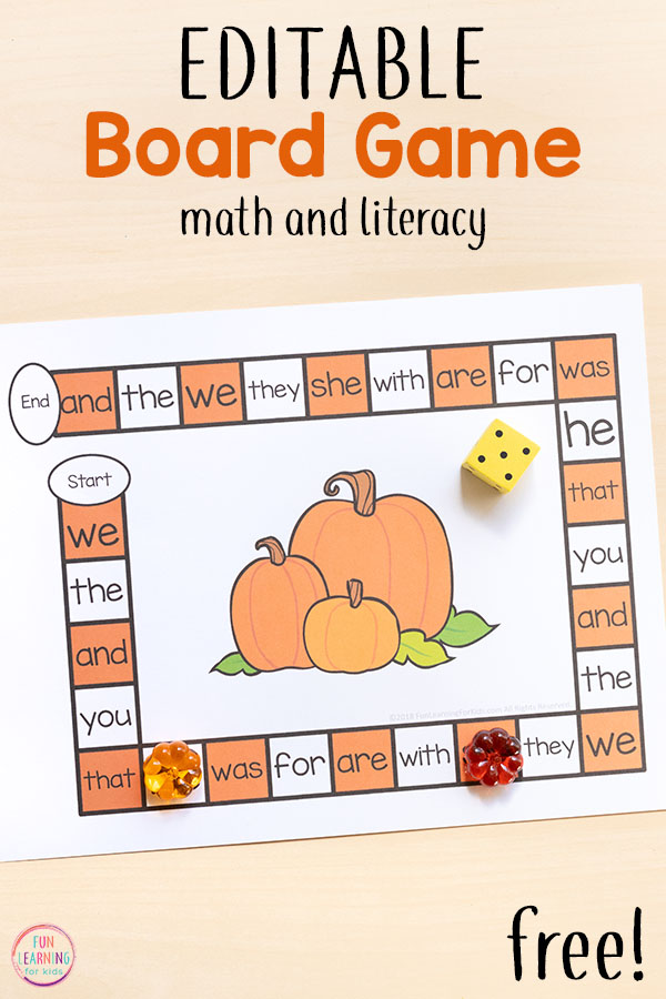 A fun pumpkin editable board game that is perfect for fall literacy centers! Use it to work on sight words, spelling words, letters and more!