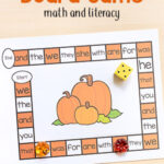 Pumpkin Editable Board Game for Math and Literacy