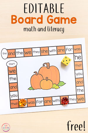 Pumpkin Editable Board Game for Math and Literacy