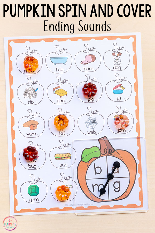 Differentiated ending sounds activity for pumpkin theme.