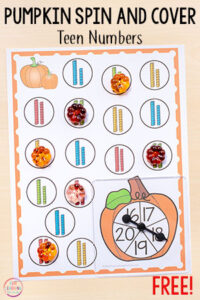 These differentiated pumpkin spin and cover math and literacy activities are perfect for students at many different levels. Add them to your fall centers in kindergarten and first grade.