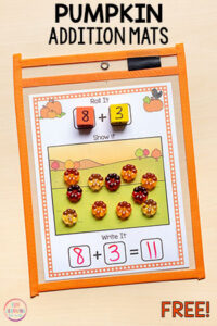 Pumpkin addition mats are perfect for fall math centers in kindergarten or first grade.