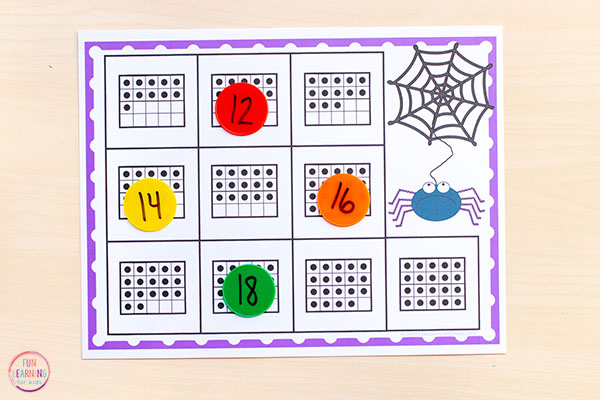 Differentiated spider math activity for kids at all different levels of ability.