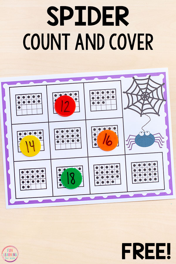 Spider counting mats for numbers 1-20 are perfect for Halloween, a creepy crawly theme or a bug theme.