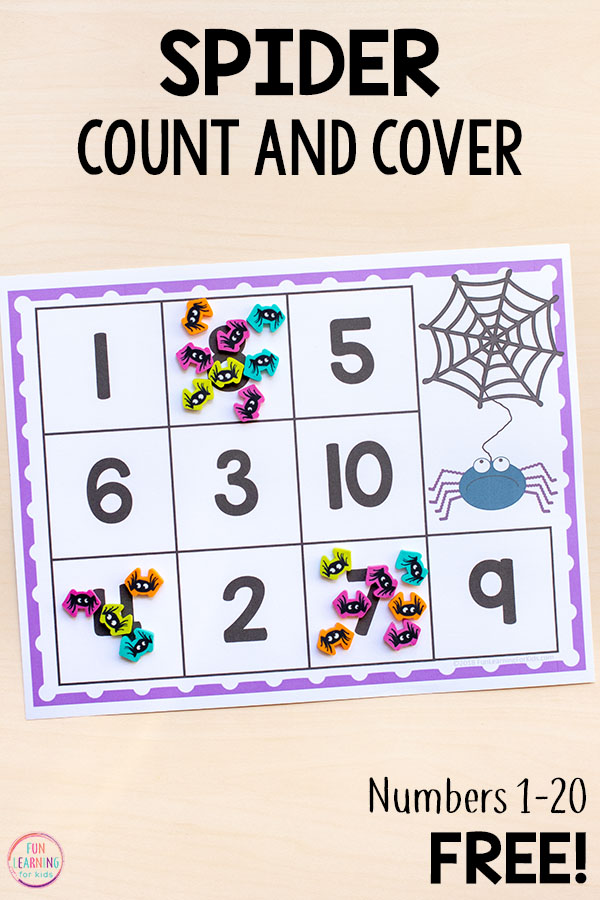 This spider math activity is perfect for preschool or kindergarten students who are learning to count, recognize numbers and develop number sense. They would be a great addition to your math centers or morning work tubs.