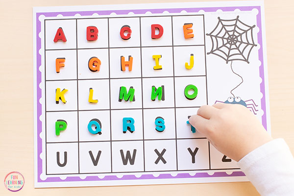 This spider literacy activity makes learning the alphabet hands-on and engaging.