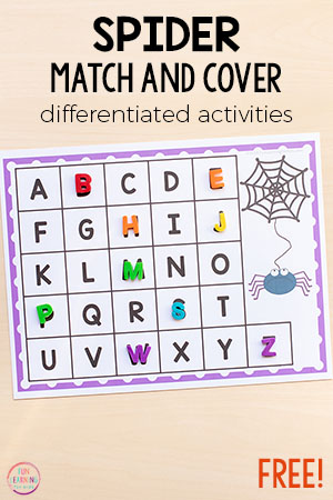 This spider match and cover the alphabet activity is a fun way to learn letters and letter sounds in kindergarten and preschool.