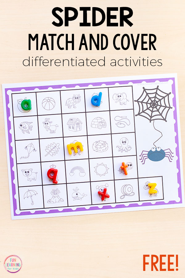 Learning letters and letter sounds is so much fun with this spider alphabet activity for preschool and kindergarten.