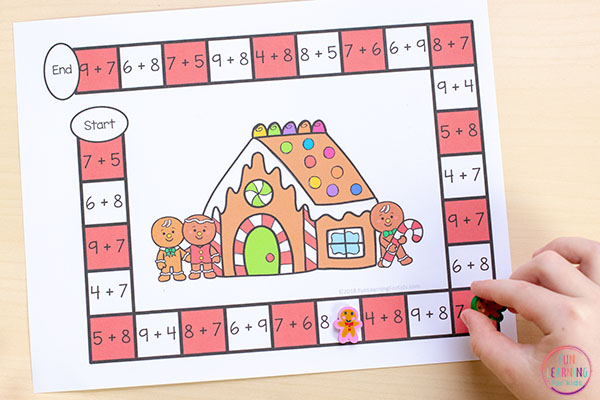Gingerbread man math activity for kindergarten, first grade and second grade.