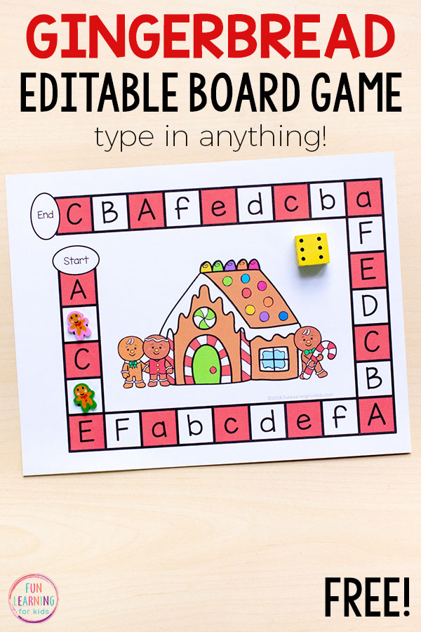 A fun editable gingerbread man board game for preschool and kindergarten math and literacy centers this holiday season.