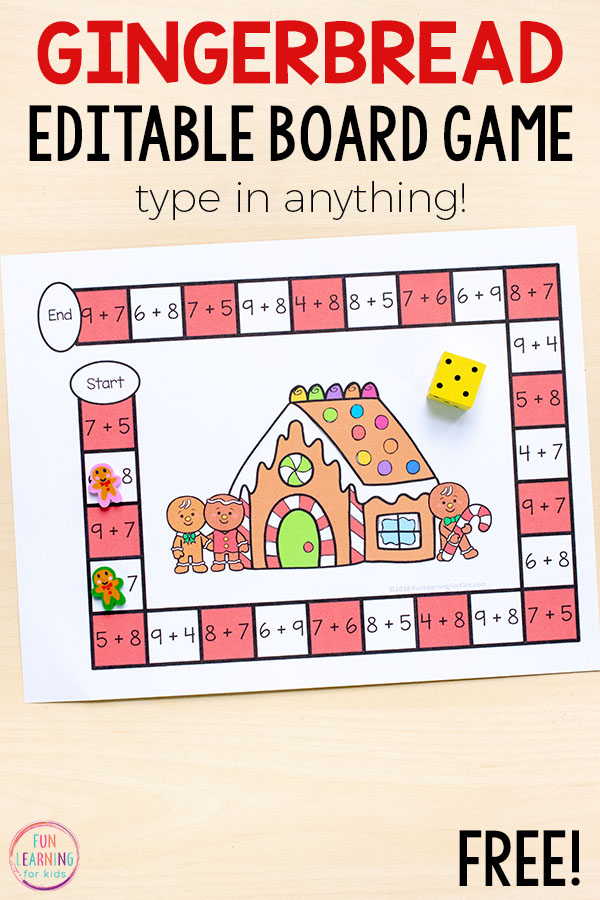 Use this editable gingerbread board game to learn math facts this Christmas! Perfect for kindergarten, first grade, and second grade.