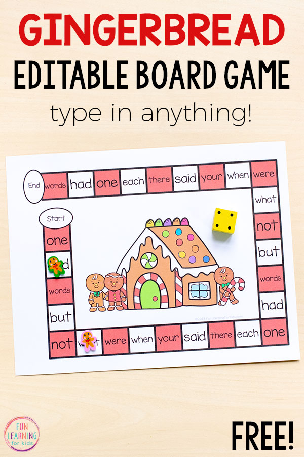This editable gingerbread board game is perfect for math and literacy centers! Type in sight words, letters, numbers, math facts and more!