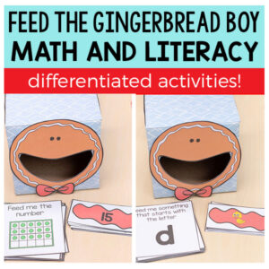 Feed the gingerbread boy math and literacy activities.