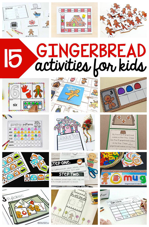Gingerbread activities for kids. These are perfect for your gingerbread theme!
