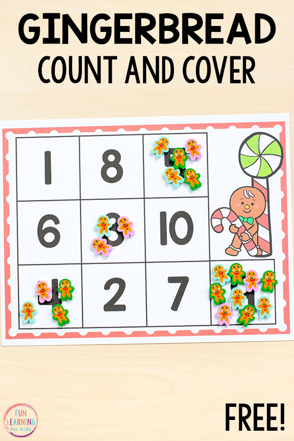 Gingerbread count and cover math activity for Christmas math centers in preschool and kindergarten.