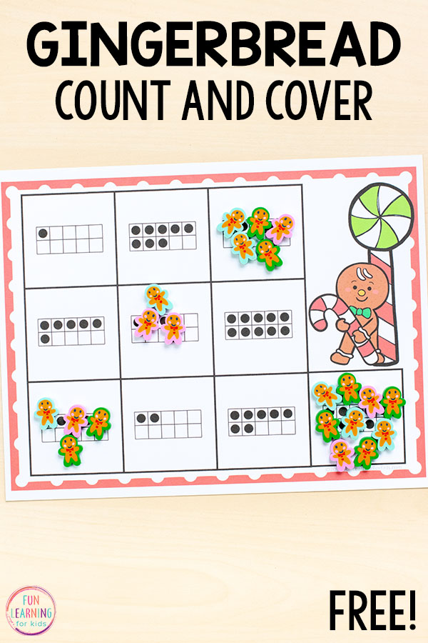 A fun gingerbread man counting activity for preschoolers and kindergarteners to do this holiday season.