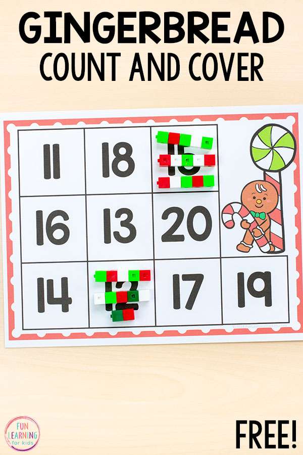 Christmas gingerbread man counting activity for kindergarten and preschool math centers and math stations.