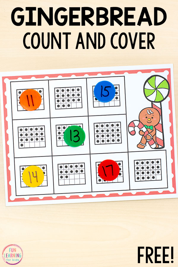 Christmas counting math with a gingerbread man theme.
