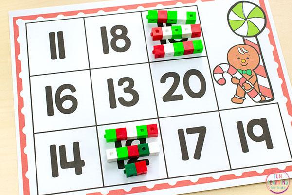 Gingerbread man Christmas math activity for preschool and kindergarten.