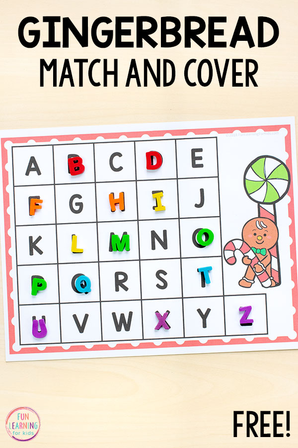 Gingerbread match and cover alphabet activity for Christmas literacy centers in preschool and kindergarten.