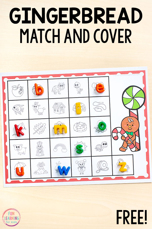 This gingerbread alphabet and letter sounds activity is perfect for Christmas centers!