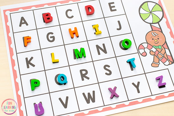 Gingerbread man alphabet activity for preschool and kindergarten.