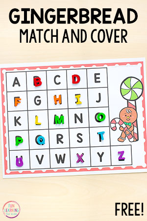 Gingerbread match and cover alphabet activity for Christmas literacy centers in preschool and kindergarten