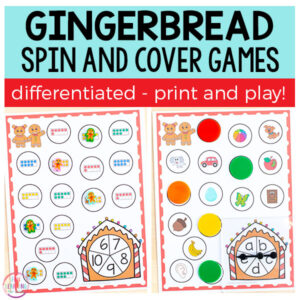 Gingerbread spin and cover math and literacy centers for Christmas. Perfect for kindergarten and first grade.