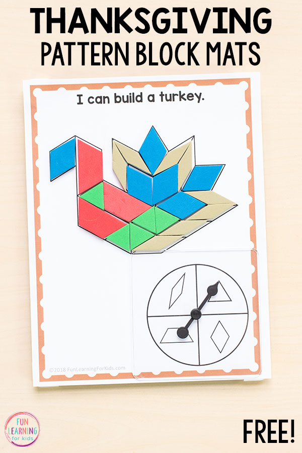 These Thanksgiving pattern block mats put a fun spin on traditional pattern block activities. These would be perfect for math centers in preschool, kindergarten, first grade or second grade.