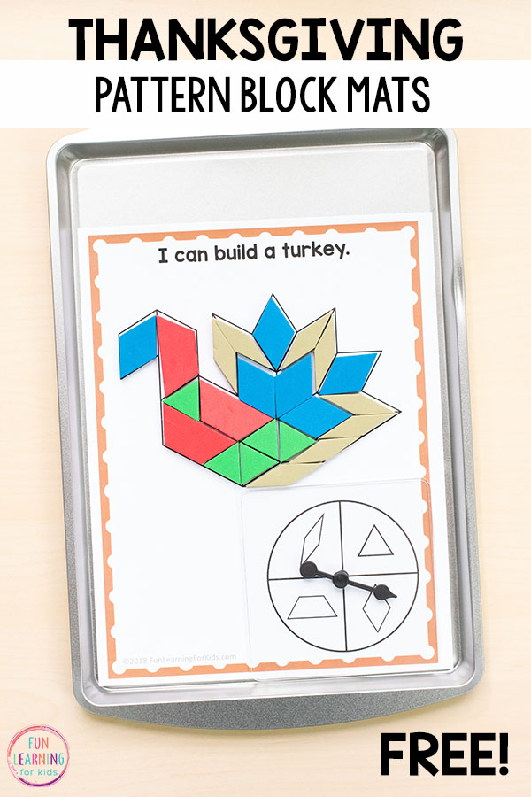 A fun Thanksgiving shape activity! Use these magnetic pattern block mats for fun and learning!