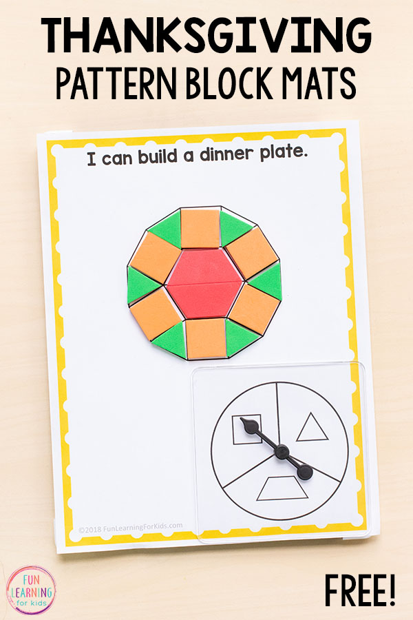 Thanksgiving pattern block activity for your math centers. A fun hands-on math activity to learn about shapes.