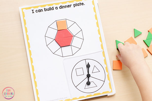 Thanksgiving pattern block mats for math centers.