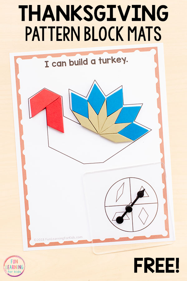 Differentiated Thanksgiving pattern block mats for math centers this fall.