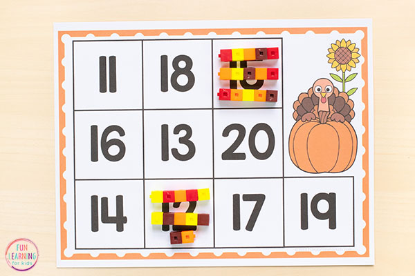 A fun Thanksgiving math activity for preschool and kindergarten.