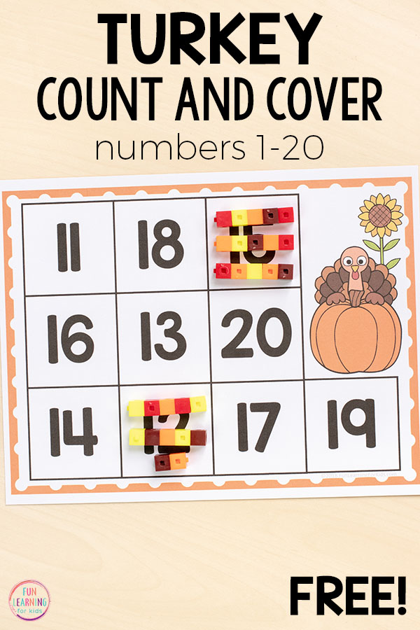 Thanksgiving turkey math center ideas for kindergarten, first grade, and even preschool.