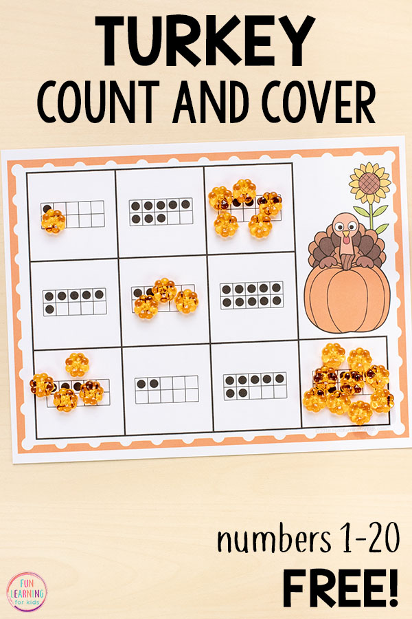 Develop number sense with these Thanksgiving counting mats this fall.
