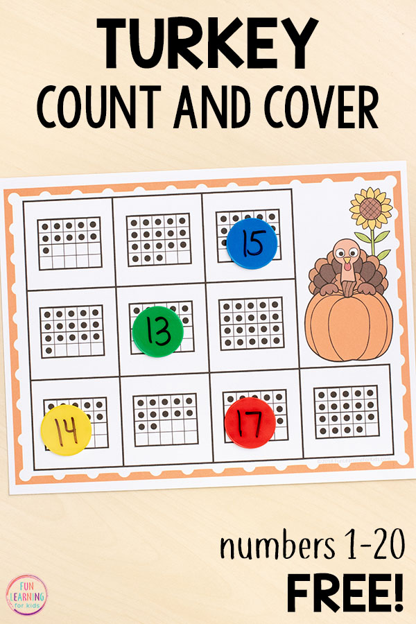 Thanksgiving themed math centers for kindergarten and first grade. A fun way to develop number sense!