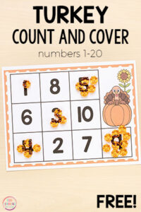 These Thanksgiving turkey count and cover mats are perfect for Thanksgiving math centers in kindergarten or preschool!