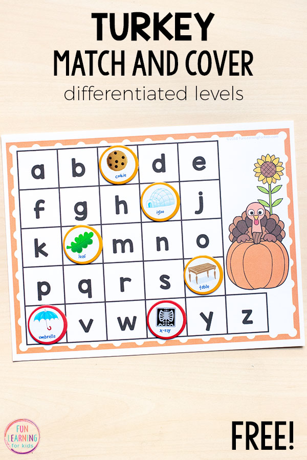 Turkey initial letter sounds alphabet activity that is perfect for your literacy centers in kindergarten or preschool!