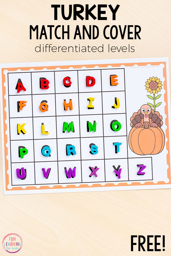 This Thanksgiving alphabet activity is perfect for preschoolers and kindergarteners. Add them to your literacy centers this fall!