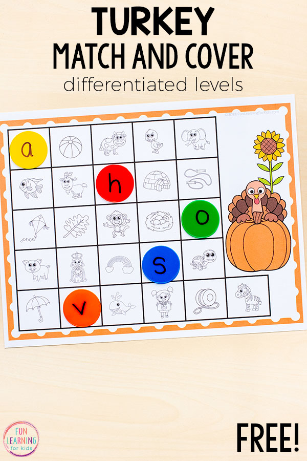 A fun turkey letter sounds activity for literacy centers in kindergarten and preschool.