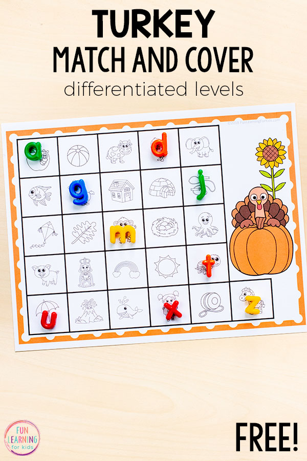 Turkey beginning sounds alphabet activity that is perfect for your literacy centers in kindergarten or preschool!