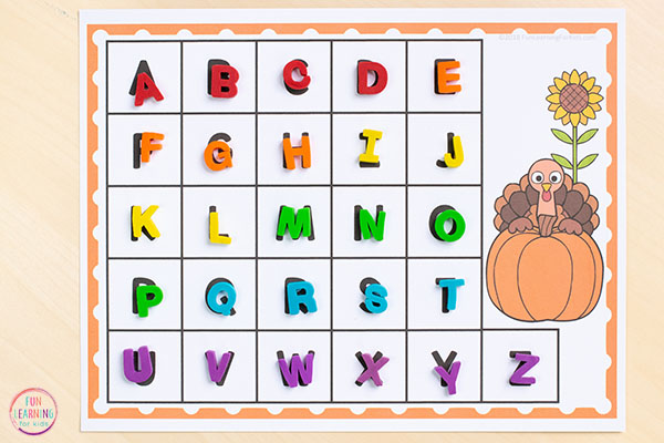 A fun Thanksgiving turkey alphabet printable.