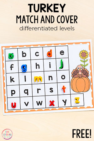 This turkey match and cover alphabet activity is a fun, hands-on way to learn letters and letter sounds this Thanksgiving!