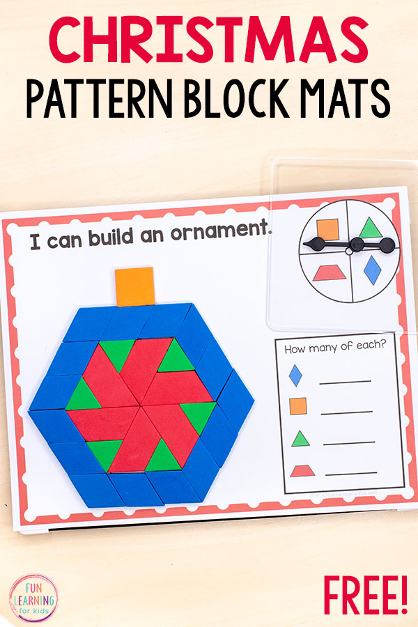 Your kids will love this Christmas pattern block mats. They are perfect for preschool, kindergarten, first grade and second grade.