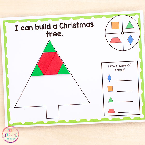 Christmas pattern blocks make a fun Christmas math activity.