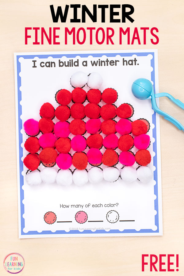 A fun winter fine motor activity for kids in preschool or kindergarten.